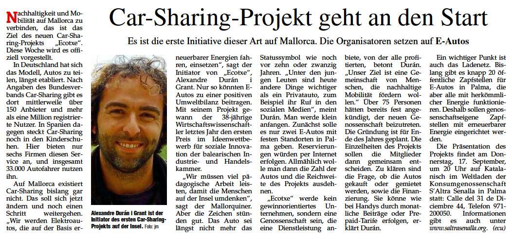 Notícia apareguda al Mallorca Magazin el 17 de setembre.